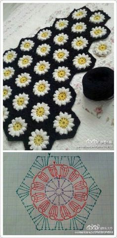 Transcendent Crochet a Solid Granny Square Ideas. Inconceivable Crochet a Solid Granny Square Ideas. Motifs Granny Square, Crochet Motifs, Hexagon Pattern, Granny Square Crochet Pattern, Crochet Flower Patterns, Crochet Diagram, Crochet Stitches Patterns, Crochet Chart, Crochet Flowers