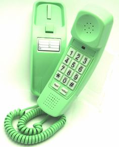 Trimline Phone - Earth Day Green - Sturdy Retro Novelty Telephone - An Better-quality Version of the Princess Phones in 1965 - Replica Retro Phones Design with Big Buttons For Seniors Desk or Wall Mountable - Distinctive Landline Corded Telephone for Office or Home