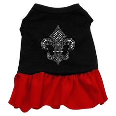 A poly/cotton sleeveless shirt with a cute ruffle sewn onto the bottom to give this dress the perfect feminine flair! Double stitched in all the right places for comfort and durability. http://www.lushpets.com.au/rhinestone-dress-shirt-silver-fleur-de-lis-dog-dre