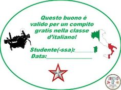 """Use these free homework passes in your Italian class as an incentive, reward for good character or prize for a game winner.There are twelve """"ink friendly"""" passes to get you started.If you are purchasing this product please view my Terms of Use located in my store:www.teacherspayteachers/Store/Urbino12"""