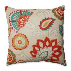 This brightly colored fiesta of flowers springs to life on a tan slub background, with bright bursts of color in fiery red, burnt orange, and teal. Accented with metallic gold this pillow really catch
