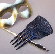 Vintage hair comb Victorian black celluloid mourning hair slide by Elronds Emporium on Etsy