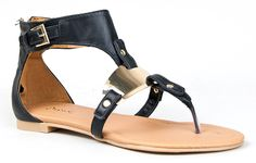 Qupid BLINK-142 Metal Plate T-Strap Thong Flat Gladiator Sandal -- Find out more about the great product at the image link.