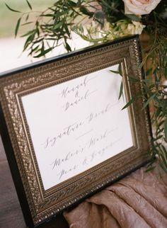 Elegant Signature drink signage #cedarwoodweddings Charming Cottage Wedding :: Hannah+Daniel   Cedarwood Weddings
