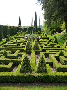 Knot Garden (in May) of Bourton House Garden in the Cotswolds