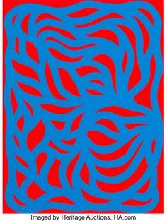 Fine Art - Work on Paper:Print, Sol LeWitt (American, 1928-2007). Loops, Blue/Red, 1999.Linocut in colors. 12 x 9 inches (30.4 x 22.8 cm) (image). 15 x...
