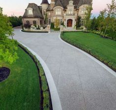28 Home Driveway Design Ideas. A driveway is a good way to welcome guests and direct their focus to your house. If you too want to get methods to keep up your driveway, there are a . Front Driveway Ideas, Circle Driveway, Driveway Design, Driveway Entrance, Front Yard Design, Driveway Landscaping, Front Yard Fence, Driveway Pavers, Fence Design