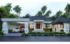 Village House Design, Bungalow House Design, Village Houses, Single Floor House Design, Modern House Floor Plans, Home Building Design, Home Design Plans, Style Villa, House Outside Design