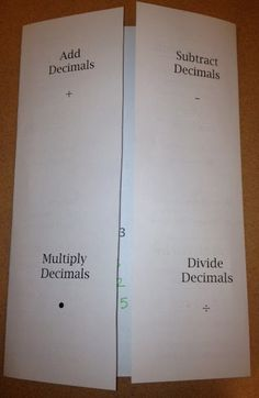 Middle School Math Rules!: Decimal Operations Foldable -- I LOVE this blog.