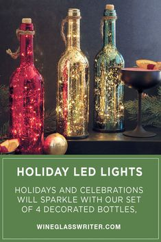 Holidays and celebrations will sparkle with our exclusive set of 4 decorated bottles, each painted and brightly lit with battery-powered LED string lights. All sets include 1 bottle each of silver, gold, red and green. #holidaydecor #christmasdecor #christmasdecorations #winedecor #lightup #winebottles #wine Decorated Gift Bags, Decorated Bottles, Wine Decor, Bottle Lights, Party Lights, Led String Lights, Christmas Decorations, Holiday Decor, Led Candles