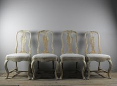 Set of Four Swedish Rococo Style Dining Chairs