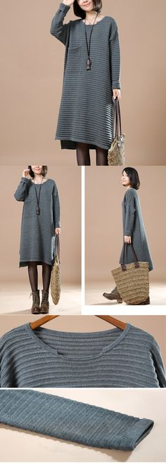 Gray Round Neck Long Sleeve Knitting Sweater $63.00. buykud dresses