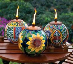 Garden decoration table torch pot sunflower decoration handpainted boho style indian oriental motifs