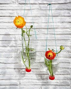 Plastic bottles as outdoor decor. Match your flowers to the cap and add some strikingly coloured twine to hang them up  - cheap and cheerful beauty!