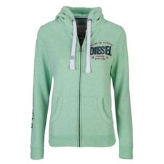 Brona Summer Green Price: € 54.00  Diesel ladies full zip hood  Lined hood with white rope draw pulls  Hidden metal zip with logo zip  Diesel applique and embroidery on breast  Logo flock print on sleeve  80% cotton 20% polyester  Brushed back fleece interior