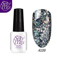 Promo Sexy mix 7ml bling moon star Sequins nail gel polish professional 3d glitter nail art UV. Click visit to check price #NailGel