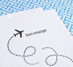 Bon Voyage Card  : Letterpress on Etsy, $3.88 AUD Goodbye Cards, Bon Voyage Cards, 8th Grade Dance, Etsy Uk, Creative Cards, Diy Cards, Vacation Trips, Letterpress, Card Making