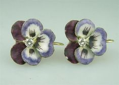 Antique Art Nouveau 14k Gold Diamond Enamel Pansy Earrings Vintage Estate Jewelry