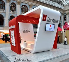 Compact design for a small trade show space, but with room for tech and semi-private meeting area Kiosk Design, Display Design, Retail Design, Exhibition Stall Design, Exhibition Display, Exhibition Stands, Exhibit Design, Web Banner Design, Stand Feria