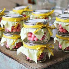 Candy in mason jar favors
