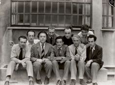 Parisian Surrealists: Tristan Tzara, Paul Eluard, Andre Breton, Hans Arp, Salvador Dali, Yves Tanguy, Max Ernst, Rene Crevel, and Man Ray. Taken by Anna Riwkin. Paris, 1933.  ÖLTÖNY!
