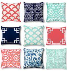 mint, coral, navy c wonder pillows