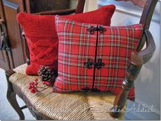CONFESSIONS OF A PLATE ADDICT Christmas Jacket & Sweater Pillow - pillows made from old sweaters & jackets - very clever