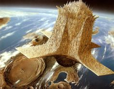 """"""" A floating city from Jim Burns """" Space Flight Simulator, Burns, Arte Sci Fi, 70s Sci Fi Art, Traditional Games, List Of Artists, Science Fiction Art, Concept Art, Earth"""