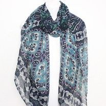 Bohemian Tribal Spring Scarf. Unique and simply beautiful Bohemian Scarf in Hues of Navy, Turquoise and Gray. Light weight and fashionable a beautiful statement scarf for this spring.  This Gorgeous scarf can be worn long or tied at the ends and worn as a infinity scarf. Simply cute and a must ...