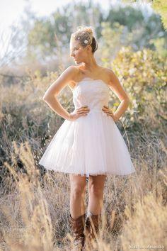 marisol aparicio bridal fall 2013 mini applique birdcage veil short wedding dress strapless. Complete with cowboy boots.