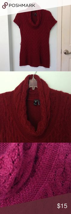 Cowl neck knit sweater dress Red knit sweater dress with cowl neck. Has side belt loops but no belt WINDSOR Sweaters Cowl & Turtlenecks