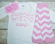 "Light PINK Chevron Birthday ""One"" Outfit for Girls First Birthday - 1st Birthday Shirt - Zig Zag Print Matching Headband and Leg Warmers"