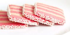 lovely pink striped shortbread cookies - maybe do the pink as peppermint. Icebox Cookies, Brownie Cookies, Shortbread Cookies, Cupcake Cookies, Cookie Bars, Sugar Cookies, Pink Cookies, Tea Cookies, Cupcakes