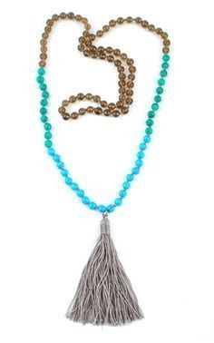 Anthropologie Beaded Neon Plume Pendant Necklace