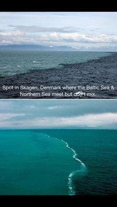 NORTH DENMARK Spot where the Baltic Sea and the North Sea meet but don't mix, due to the very different water densities and chemical differences. (Skagen, Denmark) so cool! Oh The Places You'll Go, Places To Travel, Places To Visit, Denmark Travel, Belle Villa, All Nature, North Sea, Baltic Sea, Disney Magic