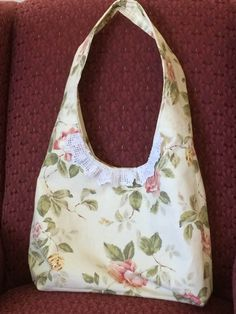 Tea rose decorator fabric handmade shoulder bag handbag