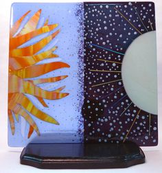 "sun and moon art piece, full fused glass. ""Two Tides"" by Audrey Jensen. stringer, frit"