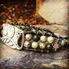 Silver Triple Owls Bracelet with Russian Serpentine by SolaceAngie