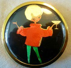 Vintage Mascot Powder Compact