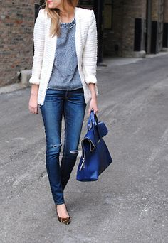 boucle jacket, leopard flats, all simple