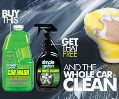 August Special! Buy 2 L. Car Wash, Get All Wheel Cleaner Free at Buy.SimpleGreen.com. #SimpleGreen #Free
