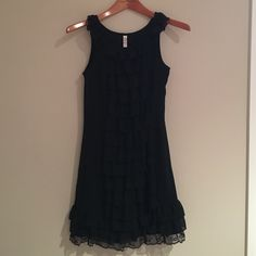 """Adorable ruffled dress If I could make this dress longer, I would keep it FOREVER AND EVER. I LOVE it. It is so flattering and fun! Some wear to it but still in excellent shape. 32"""" long. Waist is about 26"""". ❌ Sorry, no trades! Price is firm. Xhilaration Dresses"""