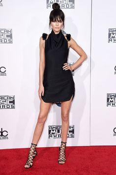 Kendall Jenner in a black Oriett Domenech mini dress at the 2015 AMAs
