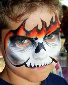 flaming skull face painting