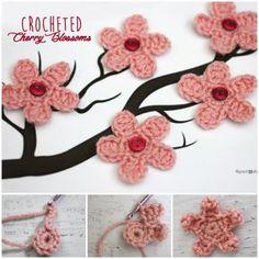 Cherry Blossom Flower Crochet freePattern-wonderfuldiy