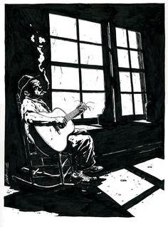 Guitariste de jazz by Christophe Chabouté