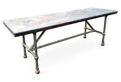 Long Metal Table w/  Zinc Top