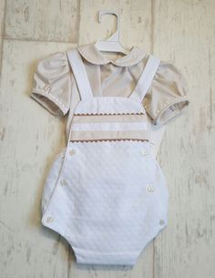 Traditional Boys Gold Shirt Spanish Romper #romper #spanishclothing Sale : £18 Size: 12m
