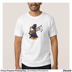 Funny Penguin Playing Bagpipes Art Shirt