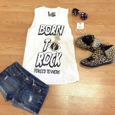 Rock it out with this #ootd styled by Lauren & all found at www.vampedboutique.com  Top: Born to Rock Tee Bottoms: Denim Cuff Shorts Shoes: Thrill Sneakers  #rock #leopard #summer #spring